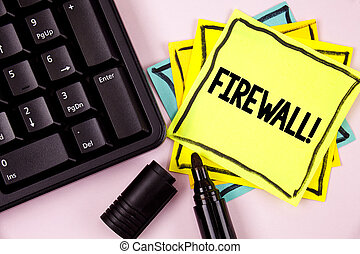 Word writing text Firewall Motivational Call. Business concept for Malware protection prevents internet frauds written on Sticky Note paper on plain background Marker and Keyboard next to it.
