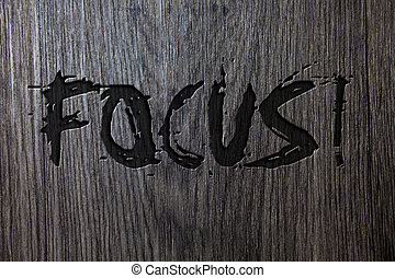 Word writing text Focus Motivational Call. Business concept for Point of concentration Center activity Attraction Wooden wood background black engraved letters words ideas messages concepts.