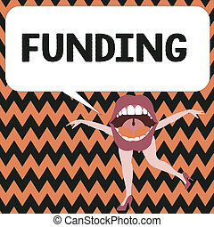 Word writing text Funding. Business concept for Money provided by organization government for particular purpose