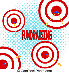 Word writing text Fundraising. Business concept for act of collecting or producing money for a particular purpose Arrow and round target inside asymmetrical shaped object multicolour design.