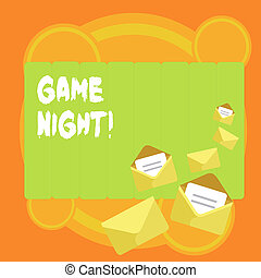 Word writing text Game Night. Business concept for usually its called on adult play dates like poker with friends Closed and Open Envelopes with Letter Tucked In on Top of Color Stationery.