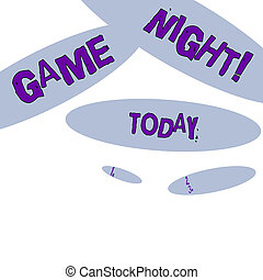 Word writing text Game Night. Business concept for usually its called on adult play dates like poker with friends Geometric Blue Oval Shape on White Isolated. Elliptical Solid Form in Random.