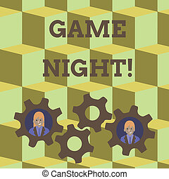 Word writing text Game Night. Business concept for usually its called on adult play dates like poker with friends Two Business People Each Inside Colorful Cog Wheel Gears for Teamwork Event.