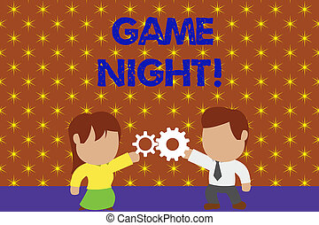 Word writing text Game Night. Business concept for usually its called on adult play dates like poker with friends Standing young couple sharing gear. Man tie woman skirt commerce relation.