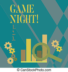 Word writing text Game Night. Business concept for usually its called on adult play dates like poker with friends Magnifying Glass Over Bar Column Chart beside Cog Wheel Gears for Analysis.