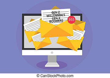 Word writing text Gen Z Millennials Gen X Boomers. Business concept for Generational differences Old Young people Computer receiving emails important messages envelopes with papers virtual.