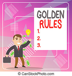 Word writing text Golden Rules. Business concept for basic ...