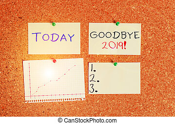Word writing text Goodbye 2019. Business concept for express good wishes when parting or at the end of last year Corkboard color size paper pin thumbtack tack sheet billboard notice board.