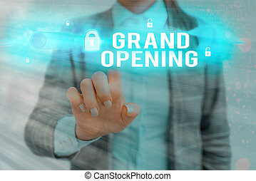 Word writing text Grand Opening. Business concept for Ribbon Cutting New Business First Official Day Launching.
