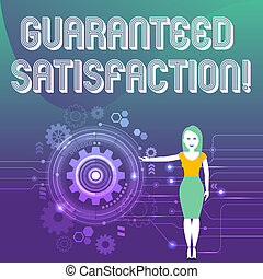 Word writing text Guaranteed Satisfaction. Business concept for if buyer not satisfied product purchased will refund Woman Standing and Presenting the SEO Process with Cog Wheel Gear inside.