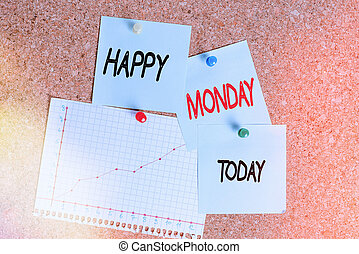 Word writing text Happy Monday. Business concept for telling that an individual order to wish him great new week Corkboard color size paper pin thumbtack tack sheet billboard notice board.