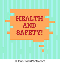 Word writing text Health And Safety. Business concept for being in good condition harmless Workouts Healthy food Blank Color Speech Bubble in Puzzle Piece Shape photo for Presentation Ads.