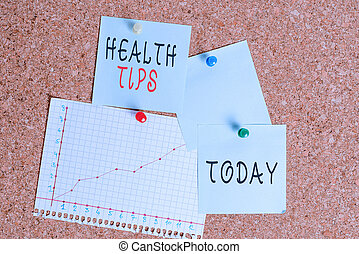Word writing text Health Tips. Business concept for advice or information given to be helpful in being healthy Corkboard color size paper pin thumbtack tack sheet billboard notice board.