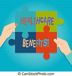 Word writing text Healthcare Benefits. Business concept for monthly fair market valueprovided to Employee dependents Four Blank Multi Color Jigsaw Puzzle Tile Pieces Put Together by Human Hands.