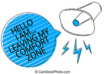 Word writing text Hello I Am... Leaving My Comfort Zone. Business concept for Making big changes Evolution Growth Megaphone loudspeaker blue speech bubble stripes important loud message.