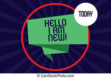 Word writing text Hello I Am New. Business concept for Introducing yourself to unknown showing newbie in the team Folded 3D Ribbon Strip inside Circle Loop on Halftone Sunburst photo.