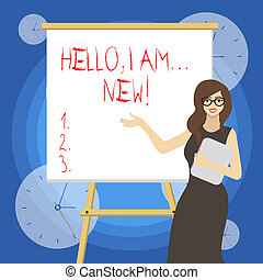 Word writing text Hello I Am New. Business concept for used greeting or begin telephone conversation.