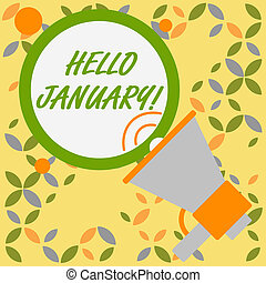 Word writing text Hello January. Business concept for a ...