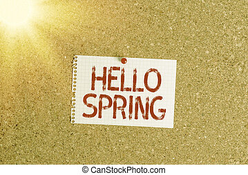 Word writing text Hello Spring. Business concept for Welcoming the season after the winter Blossoming of flowers Corkboard color size paper pin thumbtack tack sheet billboard notice board.