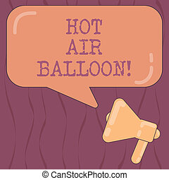 Word writing text Hot Air Balloon. Business concept for Have...