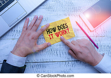 Word writing text How Does It Work Question. Business photo showcasing Asking on how stuff being build or operates