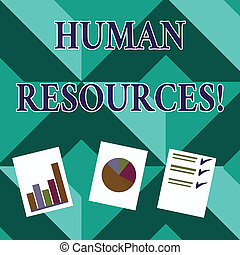 Word writing text Huanalysis Resources. Business concept for the process of hiring and developing employees Presentation of Bar, Data and Pie Chart Diagram Graph Each on White Paper.