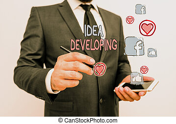 Word writing text Idea Developing. Business concept for innovating the concept and bringing the idea to reality.