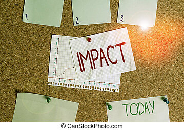 Word writing text Impact. Business concept for action of one object coming forcibly into contact with another Corkboard color size paper pin thumbtack tack sheet billboard notice board.