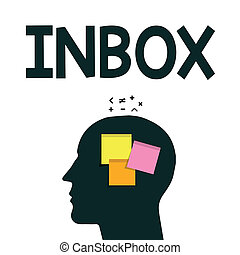 Word writing text Inbox. Business concept for electronic folder in which emails received by individual are held