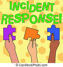 Word writing text Incident Response. Business concept for addressing and analysisaging the aftermath of a security breach Three Colored Empty Jigsaw Puzzle Pieces Held in Different People Hands.