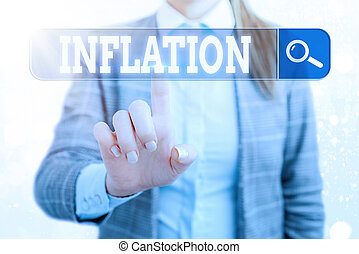 Word writing text Inflation. Business concept for increase in the volume of money relative to available goods Web search digital information futuristic technology network connection.