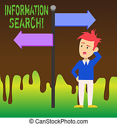 Word writing text Information Search. Business concept for options available to the consumer are identified Man Confused with the Road Sign Arrow Pointing to Opposite Side Direction.