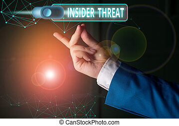 Word writing text Insider Threat. Business concept for security threat that originates from within the organization.