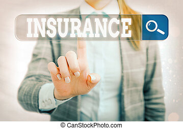Word writing text Insurance. Business concept for coverage by contract whereby one party undertakes to guarantee Web search digital information futuristic technology network connection.