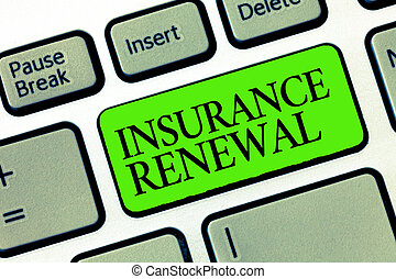 Word writing text Insurance Renewal. Business concept for Protection from financial loss Continue the agreement