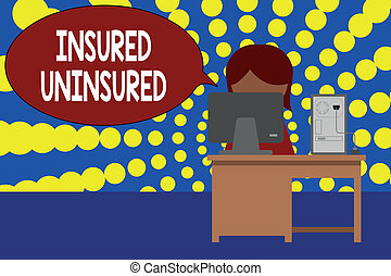 Word writing text Insured Uninsured. Business concept for Company selling insurance Checklist to choose from Young female working office sitting desktop computer office monitor photo.