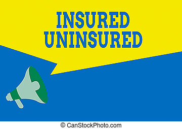 Word writing text Insured Uninsured. Business concept for Company selling insurance Checklist to choose from Megaphone Loudspeaker Amplify and Blank Geometric shape Half Speech Bubble.