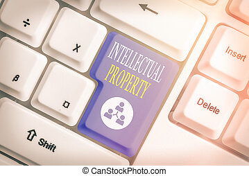 Word writing text Intellectual Property. Business concept for work or invention that is the result of creativity.