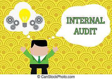 Word writing text Internal Audit. Business concept for Evaluates the effectiveness of the controls and processes Standing man suit hands up imaginary bubble light bulb gears working together.