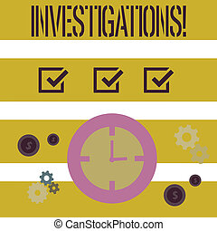 Word writing text Investigations. Business concept for...