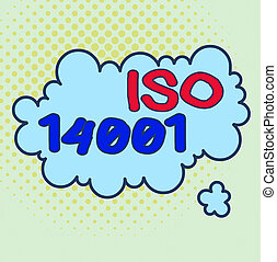 Word writing text Iso 14001. Business concept for a family ...
