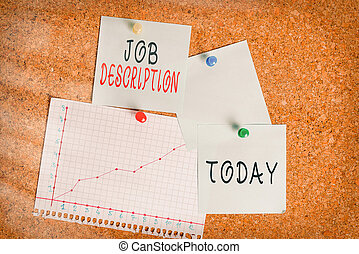 Word writing text Job Description. Business concept for a formal account of an employee s is responsibilities Corkboard color size paper pin thumbtack tack sheet billboard notice board.