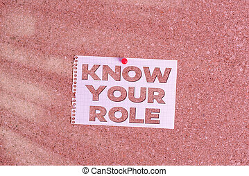 Word writing text Know Your Role. Business concept for end acting outside who you actually are Play your position Corkboard color size paper pin thumbtack tack sheet billboard notice board.