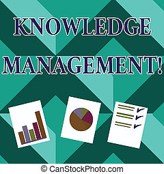 Word writing text Knowledge Management. Business concept for efficient handling of information and resources Presentation of Bar, Data and Pie Chart Diagram Graph Each on White Paper.