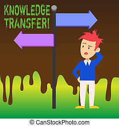 Word writing text Knowledge Transfer. Business concept for sharing or disseminating of knowledge and experience Man Confused with the Road Sign Arrow Pointing to Opposite Side Direction.