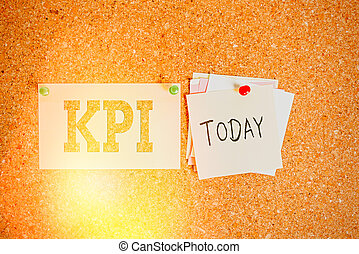 Word writing text Kpi. Business concept for Evaluate the success of an organization in a particular activity Corkboard color size paper pin thumbtack tack sheet billboard notice board.