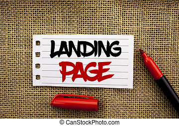 Word writing text Landing Page. Business concept for Website accessed by clicking a link on another web page written on Notebook Paper on the jute background with marker next to it.