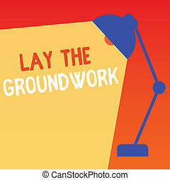 Handwriting text lay the groundwork  concept meaning