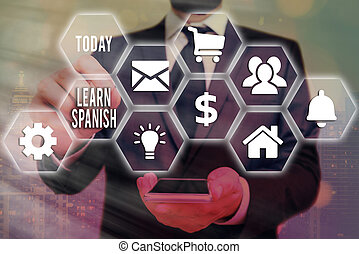 Word writing text Learn Spanish. Business concept for to ...