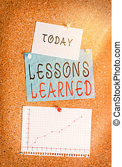 Word writing text Lessons Learned. Business concept for experiences distilled project that should actively taken Corkboard color size paper pin thumbtack tack sheet billboard notice board.